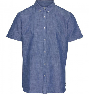Cotton Linen Short Sleeved Shirt - heritage blue