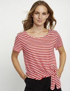 Kirstie Stripe Linen Top - red