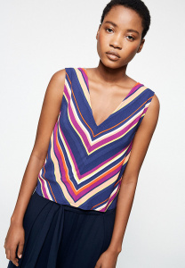 "Top ""Naadima Multicolour Stripes"" - navy"