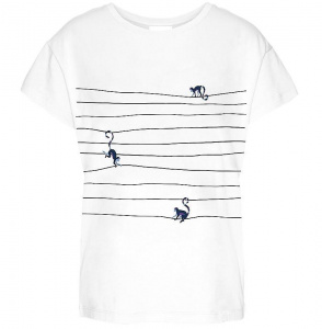 "Shirt ""Nelaa Monkeys On The Wire"" - weiß/navy"