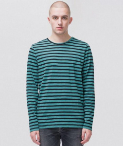 "Nudie Longsleeve ""Orvar Striped"" - türkis"