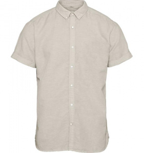 Cotton Linen Short Sleeved Shirt - light feather grey
