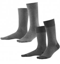 Mens Socks, 2pack - stone grey anthracite melange