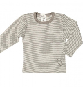Longsleeve Shirt, wool/silk - natural/taupe striped