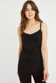 Hidden Support Lace Trim Camisole - black