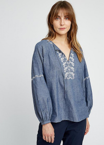 Serena Embroidered Blouse - blue