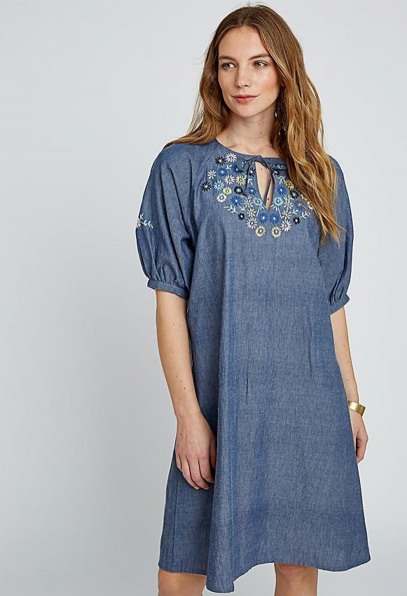 Patti Embroidered Dress - blue