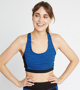 Yoga Abstract Cross Back Crop Top - blue