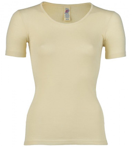 Womens short sleeve shirt, wool/silk - natural