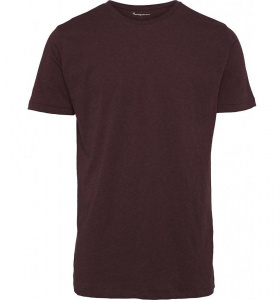 Basic Regular Fit O-Neck T-Shirt - dunkelrot meliert