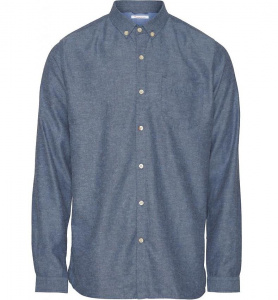 Solid Col. Flanel Shirt - denim blau