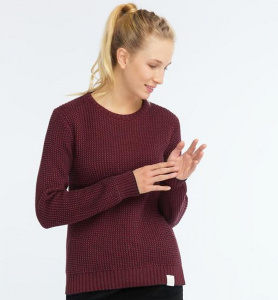 "Strickpullover ""Crew Neck"" - rot/navy"
