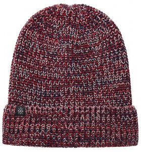 "Strick-Beanie ""Mouline"" - rot/navy/sand"