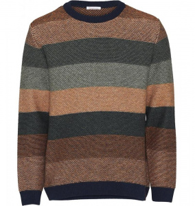 Multi Coloured Striped O-Neck Knit (Wolle)