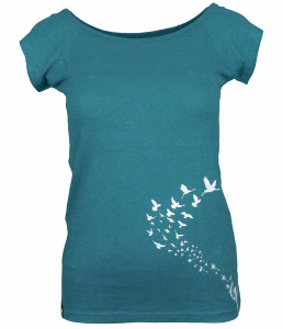 "Hemp Tee ""Flyings"" (Hanf) - deep ocean"