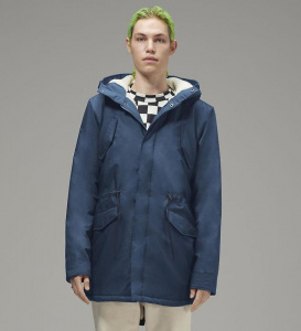 Mens Long Parka - navy