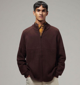 Mens Zip Up Sweater - braun