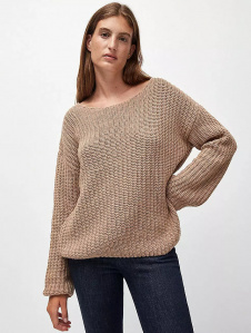 "Strickpullover ""Sadie"" (Wolle) - light camel"