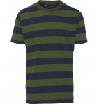 Striped O-Neck Tee - grün