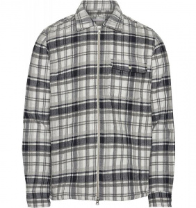 Quilted Checked Flannel Overshirt - dunkelgrau