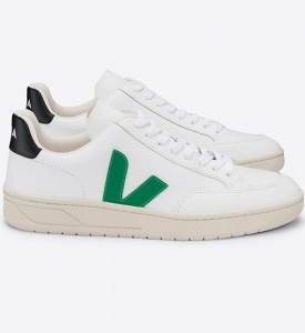 "Veja Schuh ""V-12 Leather"" - extra white emeraude black"
