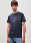 "T-Shirt ""Jaames Crooked Lines"" - navy"