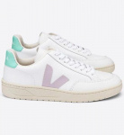 "Veja Schuh ""V-12 Leather"" - extra white parme turquoise"
