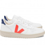 "Veja ""V-10 Leather"" - extra white orange fluo cobalt"