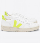 "Veja ""V-10 Leather"" - extra white jaune fluo"