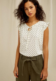 June Olive Print Top - cream