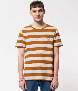 "Nudie T-Shirt ""Roy Stripe Slub"" - ocker"