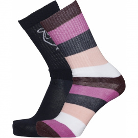 Block Striped 2 Pack Socks - fig
