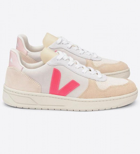 "Veja ""V-10 Suede"" - multico natural rose fluo"
