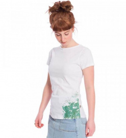 "Damen T-Shirt ""Natural Grown Flower"" - weiß/mint"
