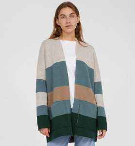 "Strick-Cardigan ""Maayumi Block Stripes"" (Wolle) - deep lake/soft"
