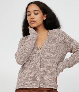 "Knit Cardigan ""Nuriaa Mouline"" - light caramel melange"