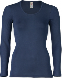 Shirt, long sleeves, from wool/silk - navy