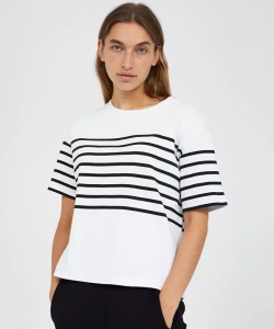 "Shirt ""Jacintaa Placed Stripes"" - weiß"