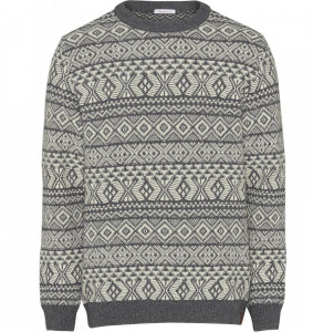 Jacquard Strickpullover (Wolle) - grau