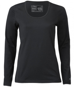 Engel Sports Damen-Funktionsshirt aus Wolle/Seide - schwarz