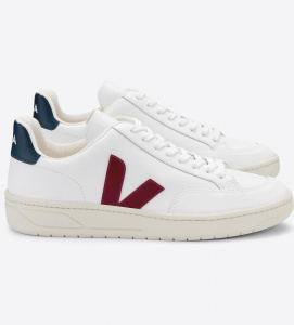 "Veja ""V-12 Leather"" - extra white marsala nautico"