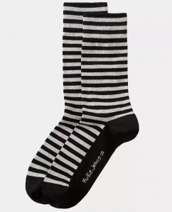 "Nudie Socken ""Olsson Breton Stripes"" - black"
