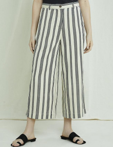 Shauna Striped Trousers - black