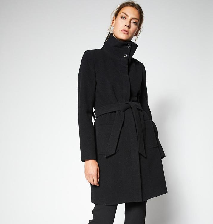 Mantel schwarz gurtel