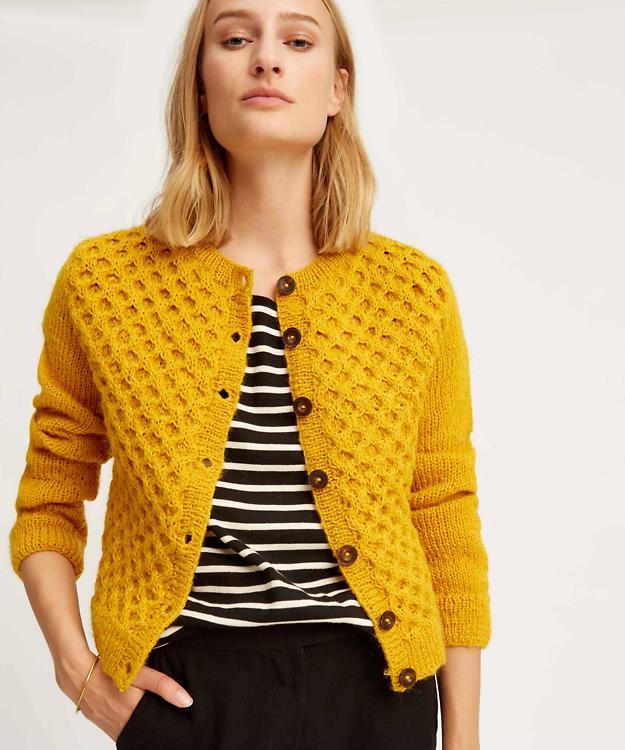 Temperament Schuhe bestbewertet Kauf echt People Tree · Cardigan Honeycomb (Wolle) - gelb · fairtragen
